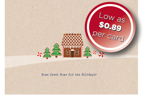 Holiday Cards - Ginger Bread Swoosh w/envelopes: as low as $0.89 per card