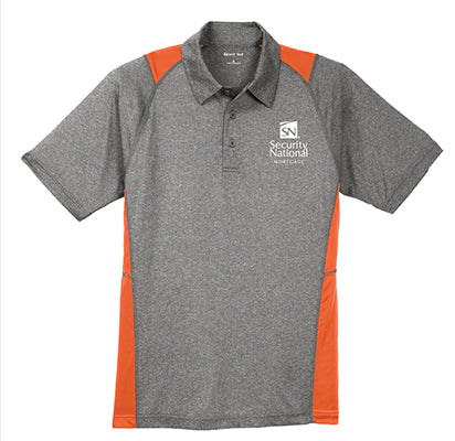 Men's Sport-Tek Heather Colorblock Contender Polo Shirt - Grey and Deep Orange