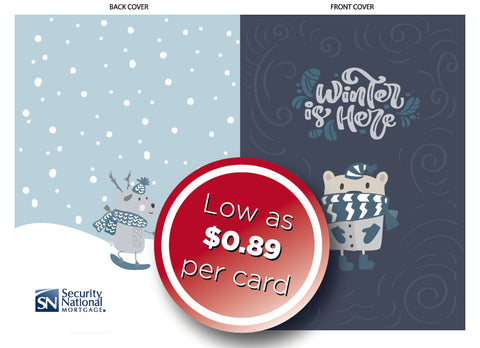 Winter Card w/envelopes: as low as $0.89 per card