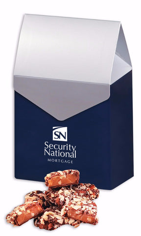 English Butter Toffee in Navy & Silver Gable Top Gift Box