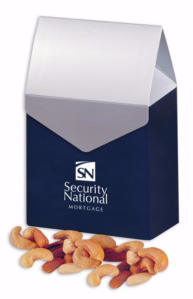 Deluxe Mixed Nuts in Navy & Silver Gable Top Gift Box