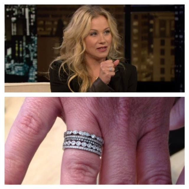 Christina Applegate wearing white gold rings