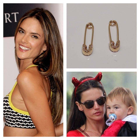 Alessandra Ambrosio seen wearing the Safety Pin earrings