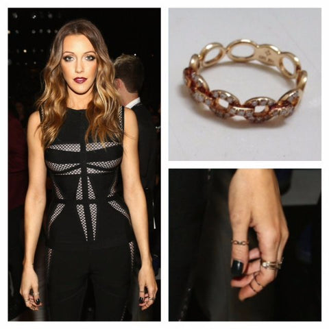 Katie Cassidy wearing Diamond Link Ring