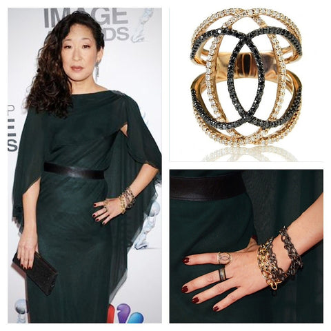 Sandra Oh in Martha Graham R6 White and Black Diamond Ring