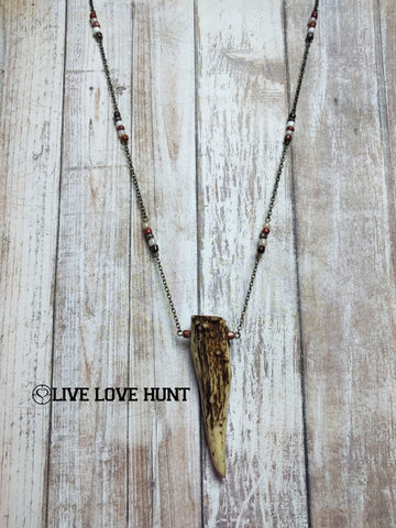 live love hunt™ antler necklace, auburn mix