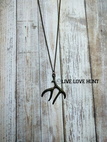 brass antler necklace