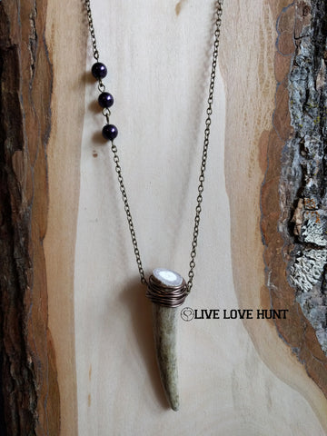 live love hunt™ antler necklace, grape