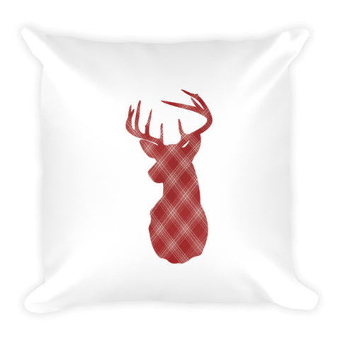 flannel buck pillow - red and white