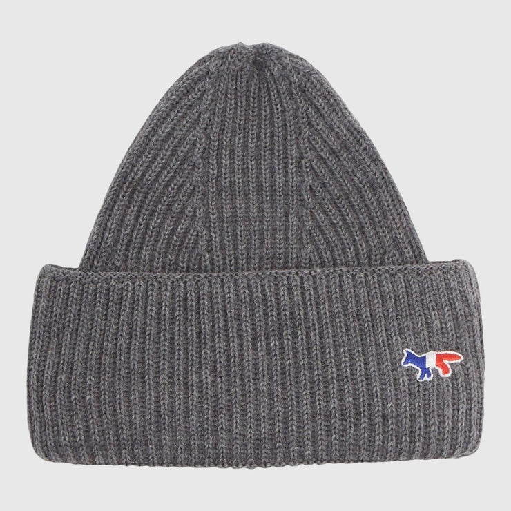 Maison Kitsuné Tricolor Fox Patch Ribbed Hat - Grey Melange Headwear Maison Kitsuné