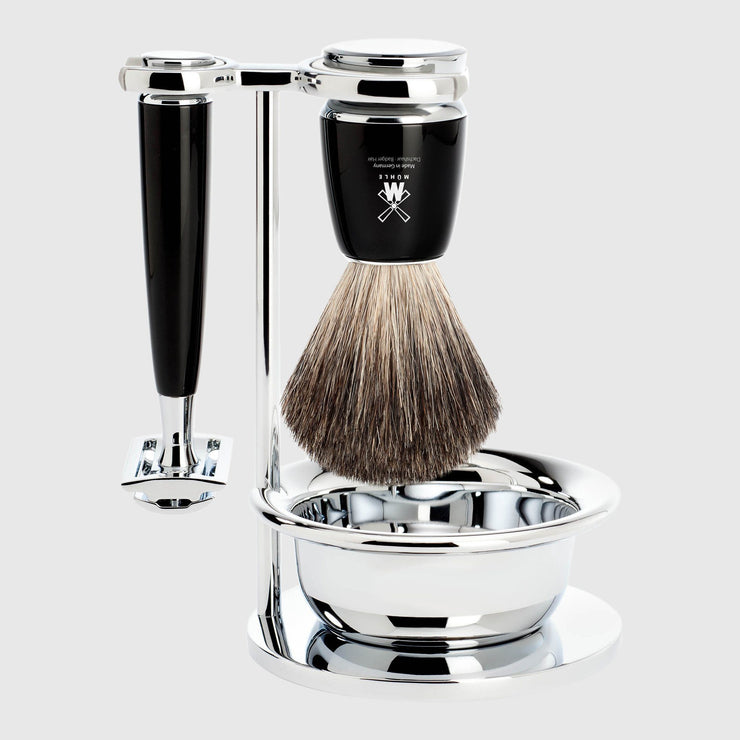 Mühle Rytmo Shaving Kit - 4 Parts Barbersett Mühle Sort Pure Badger