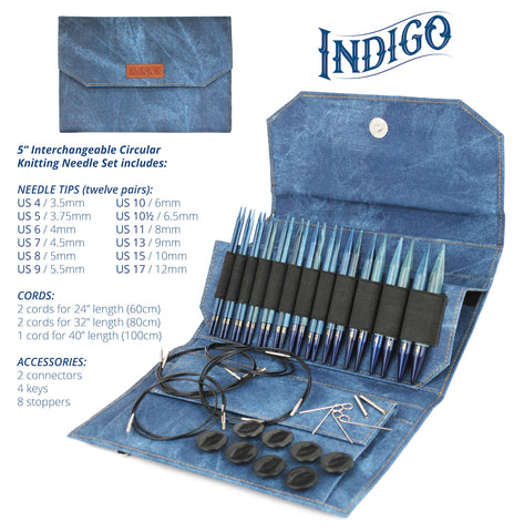 "LYKKE Crafts Indigo Wooden Needles Gift Set 5"" and 3.5"" Circular"