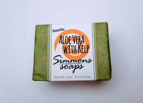 Aloe Vera Soap with Kelp. Detoxify, soften, rejuvenate and heal skin with sea kelp & aloe vera.