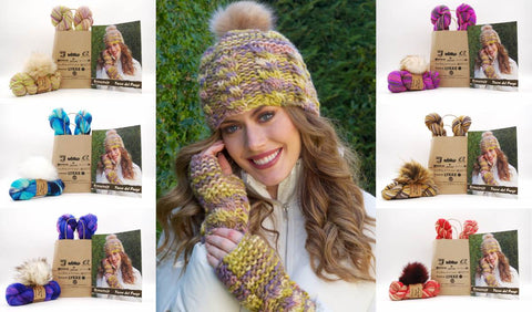 Joan Hat & Wrist Warmers in Tierra del Fuego with Pom Pom