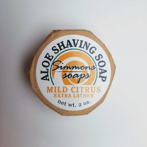Aloe Vera Shaving Soap. Mild, soothing, creamy and freshly scented with citrus.