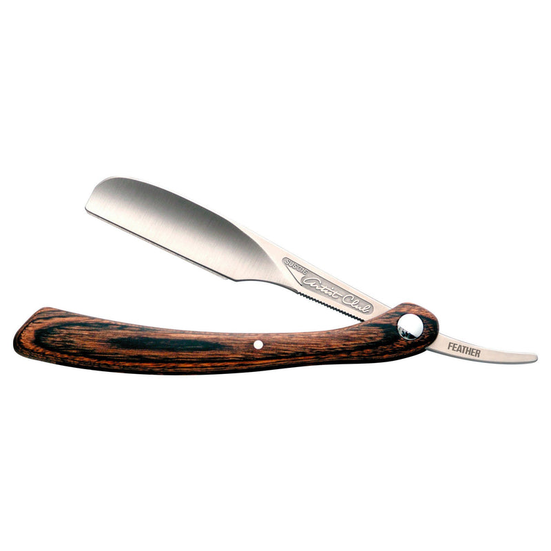 Feather Artist Club DX barberkniv med treskaft Shavette Feather