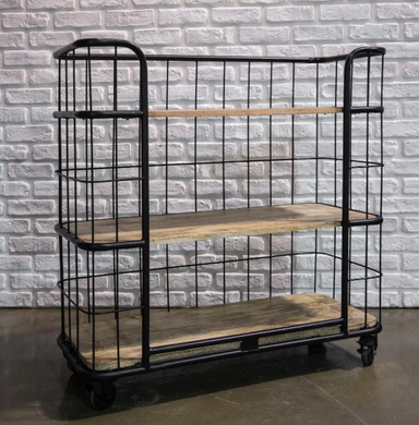 Depot Iron and Wooden Industrial Trolley Cart - Small