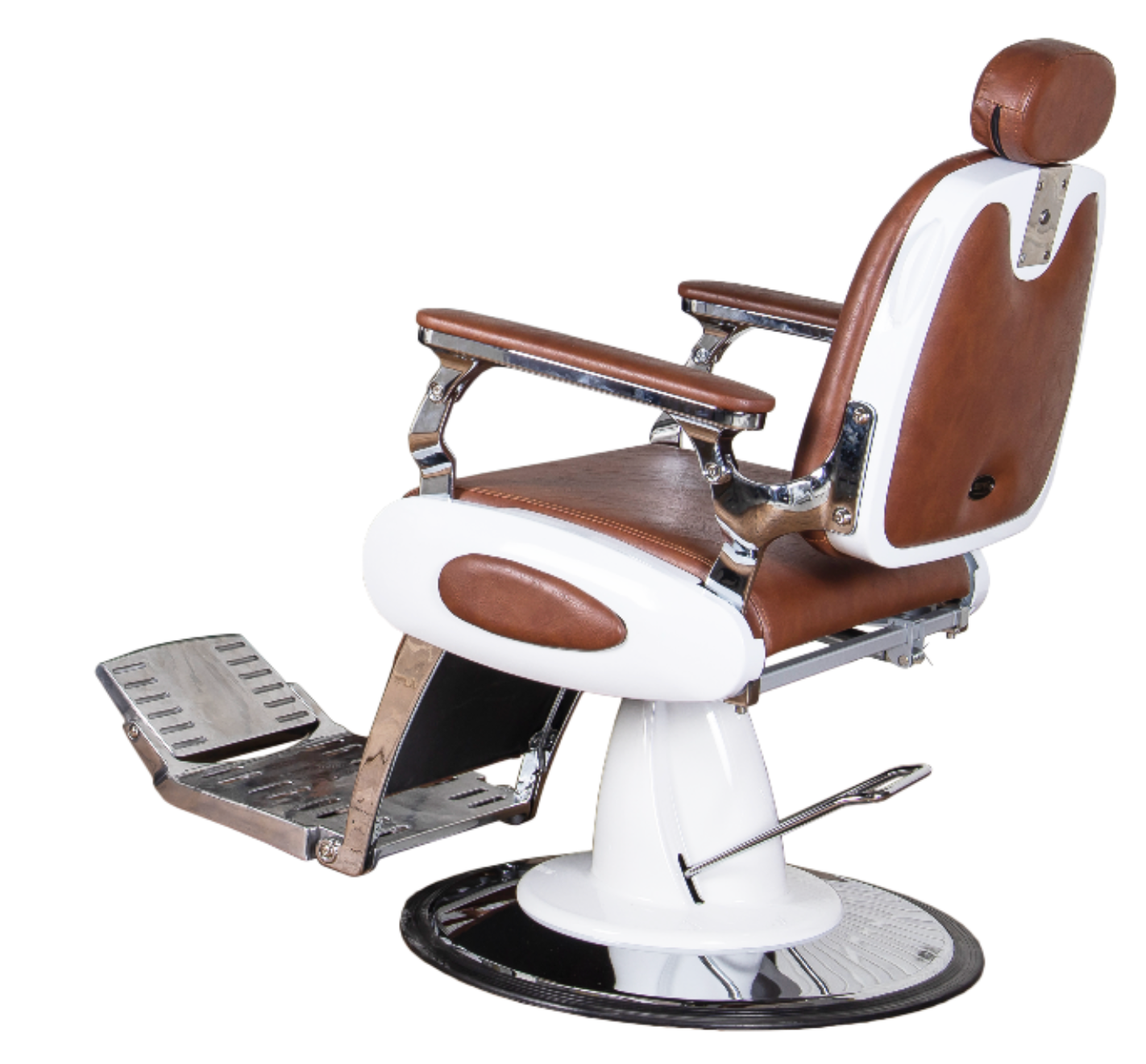 Depot Retro Barber Chair barberstol - White and Brown
