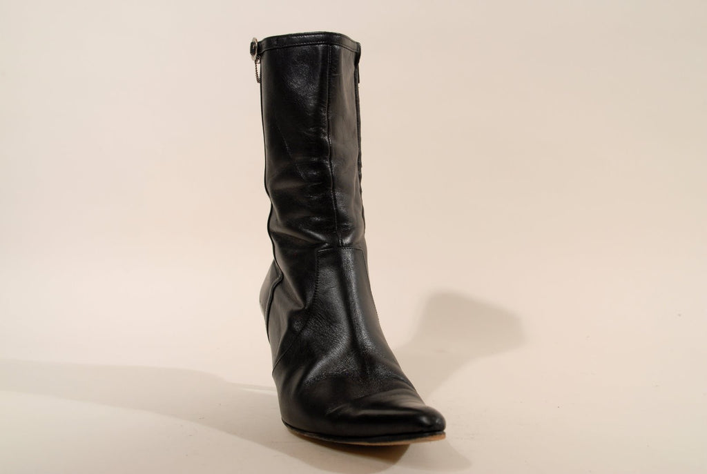 Kenzo Black Leather Ladies Boots Barelly Heels