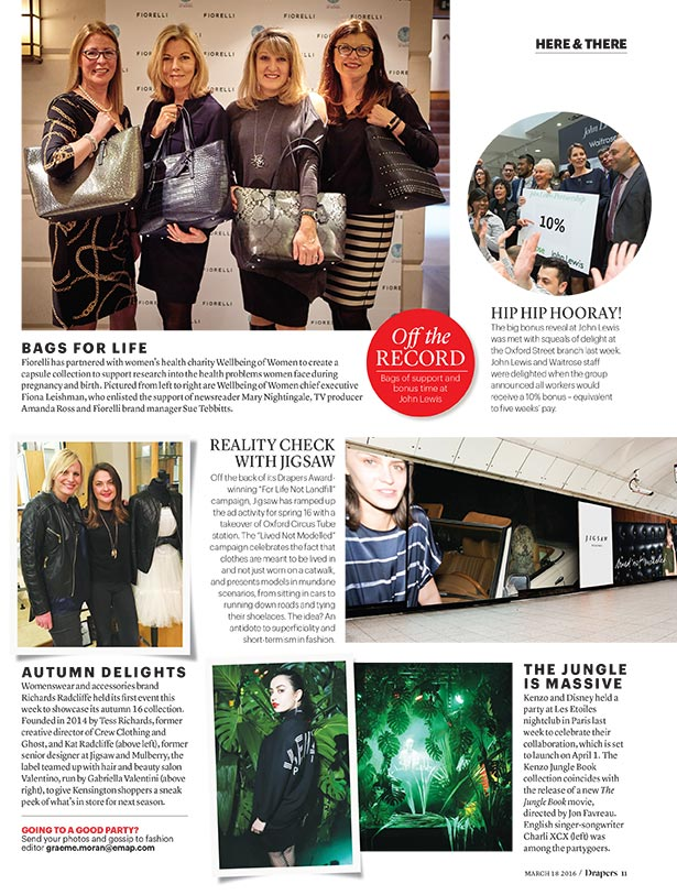Drapers Magazine, 14th March 2016 Autumn Preview Event at Valentino Salon, Kensington, London