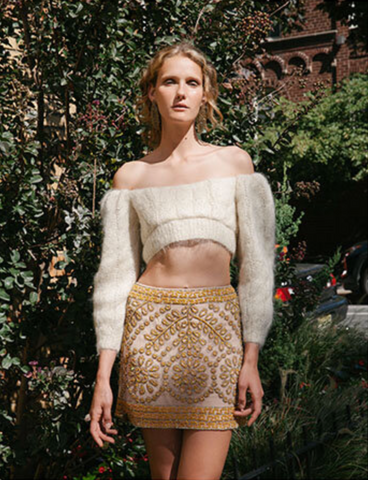A Book of Magazine featuring the Chelsea Hand Beaded Mini Skirt - Photographer - Katie Borrazzo | Stylist - Bex Vanderway | Model - Helga Kitko | Hair&Make Up - Mia Varrone - December 2020