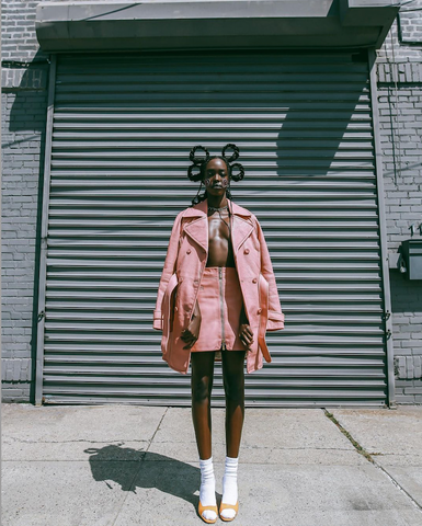Latest Magazine (USA) featuring the Richmond By-Product Leather Trench Coat and Shoreditch By-Product Leather Mini Skirt |  Photographer - Tatiana Katkova | Styling - Rachael Maryse - February 2021