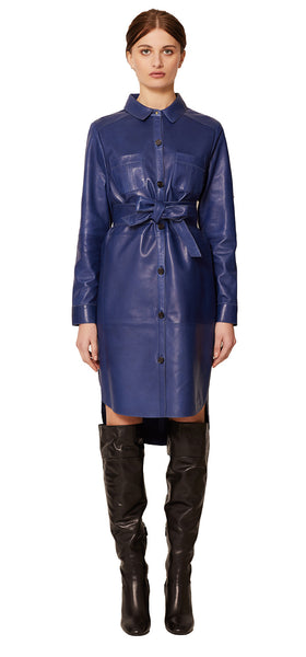 ISLINGTON LEATHER SHIRTDRESS