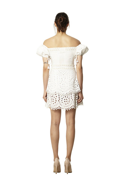 PIMLICO HAND BEADED COTTON CUTWORK DRESS