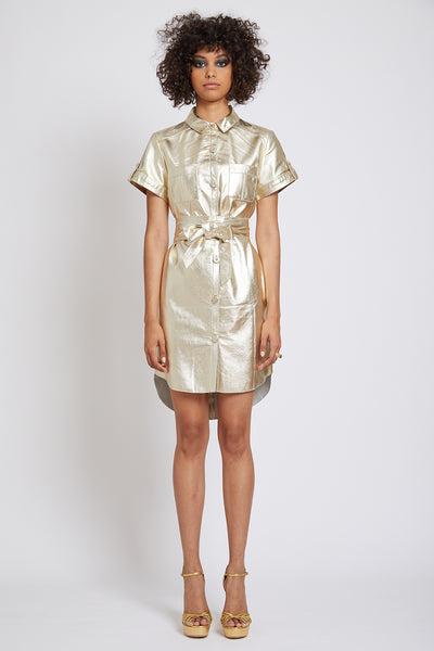 ISLINGTON LEATHER MINI SHIRTDRESS