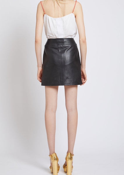 SHOREDITCH LEATHER ZIP MINI SKIRT