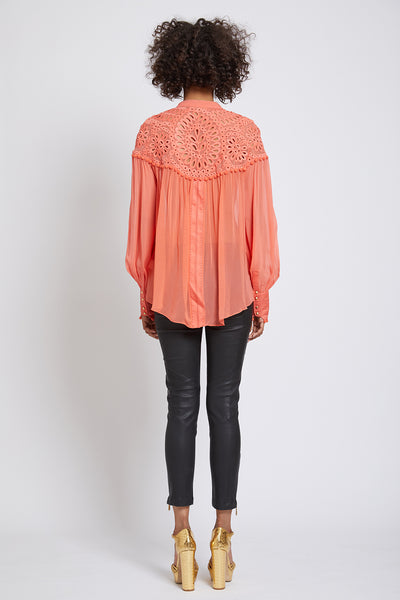 BATTERSEA HAND CUTWORK LONG SLEEVED SHIRT