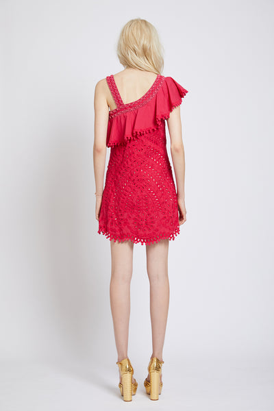 PIMLICO HAND CUTWORK ASYMMETRIC MINI DRESS