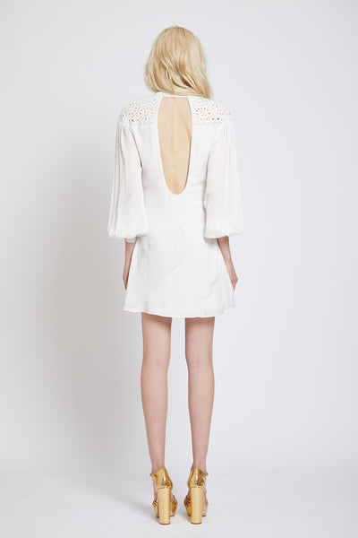 ANGEL HAND CUTWORK BACKLESS MINI DRESS