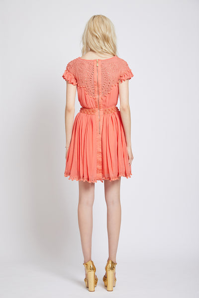 BATTERSEA HAND CUTWORK CUT-AWAY DRESS