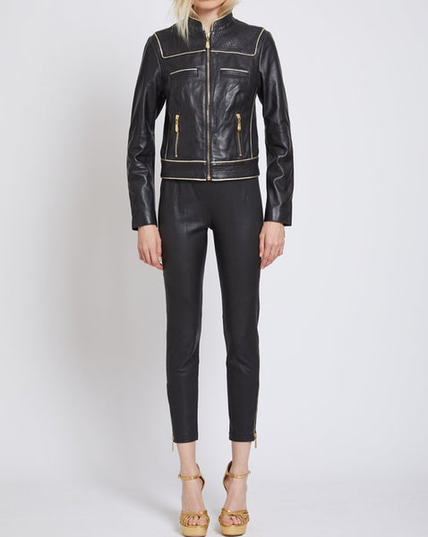 RICHMOND ZIP FRONT LEATHER JACKET