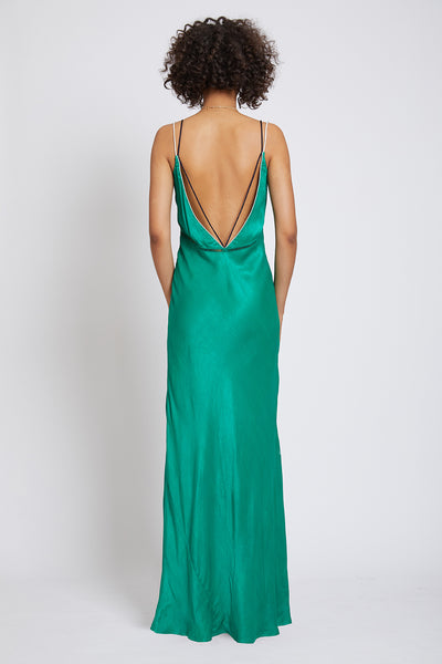 CLERKENWELL PIPED CADY BACKLESS MAXI DRESS