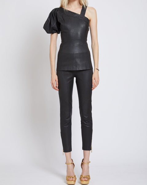 SOUTHFIELDS STRETCH LEATHER ASYMMETRIC TOP