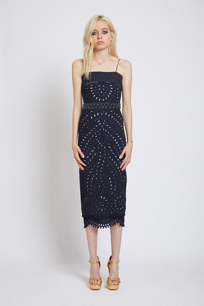 VICTORIA HAND CUTWORK TAPERED MIDI DRESS