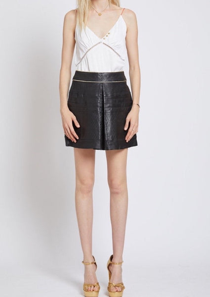 RICHMOND LEATHER MINI PLEAT FRONT SKIRT