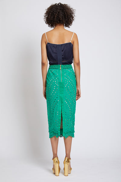 PIMLICO HAND CUTWORK PENCIL SKIRT