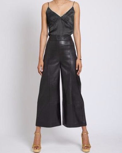 RICHMOND LEATHER CROPPED TROUSER
