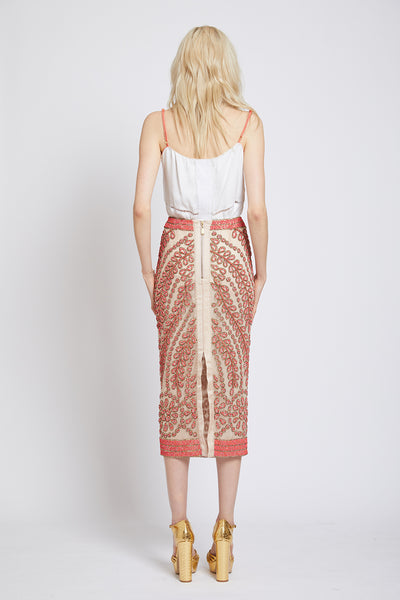 CHELSEA HAND BEADED PENCIL SKIRT