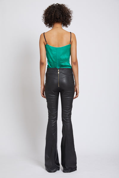 FULHAM STRETCH LEATHER FLARE TROUSER