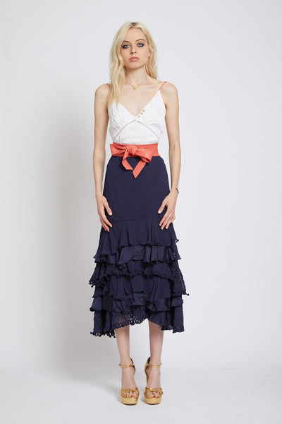 BATTERSEA HAND CUTWORK RUFFLE MIDI SKIRT