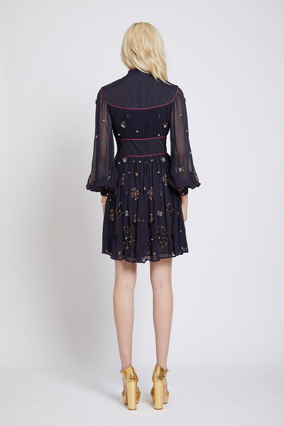 MAIDA HAND BEADED SLEEVED DRESS