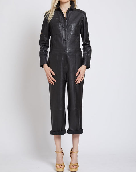 ISLINGTON LEATHER CROPPED JUMPSUIT