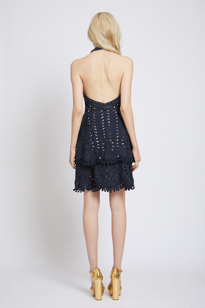 PIMLICO HAND CUTWORK HALTER NECK DRESS