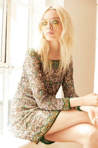 SHEERWATER HAND BEADED SEQUIN MINI DRESS