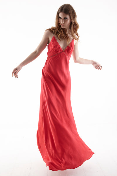 CLERKENWELL CONTRAST PIPED BACKLESS MAXI DRESS