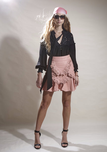 PETERSHAM LEATHER PETAL DETAIL MINI SKIRT